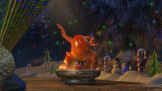 "A cooked turkey that sings and dances to ""Gonna Make You Sweat (Everybody Dance Now)"" features in Donkey's Christmas story."
