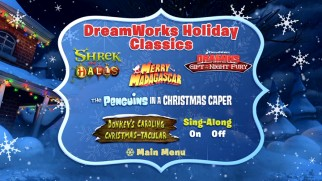 Title logos adorn the DreamWorks Holiday Classics DVD's cartoon selection menu.