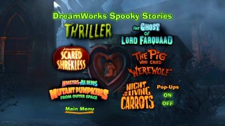The DVD's DreamWorks Spooky Stories menu displays title logos for the six featured shorts.