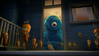 "B.O.B. sweeps away zombie vegetables in ""Night of the Living Carrots."""