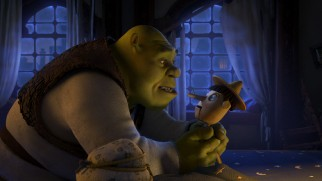 "Shrek has his hands full with a wild Pinocchio in the ""Scared Shrekless"" segment ""The Shreksorcist."""