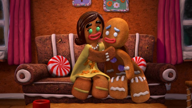 """The Bride of Gingy"", the Gingerbread Man's candy-colored contribution to ""Scared Shrekless"" pairs him with a sweet gingerbread woman named Sugar."