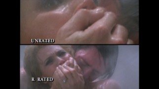 Viewers of the unrated cut get a shower scene close-up while the R-rated edit keeps its distance, this comparison shows.