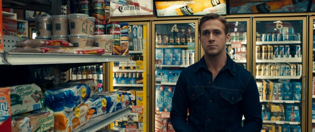 "Ryan Gosling plays the laconic, unnamed protagonist of #27, ""Drive"", seen here spotting his neighbors at the grocery store."