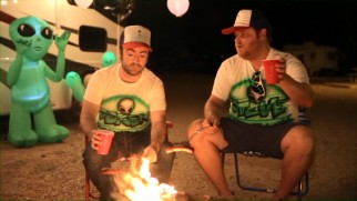 Derek Waters roasts weinies on a campfire on his deleted New Mexican road trip with Steve Berg.