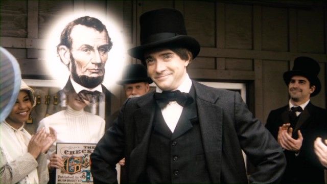"In its third season, ""Drunk History"" teaches us that influential game maker Milton Bradley (Topher Grace) owes his success to Abraham Lincoln's beard."