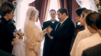 "Grover Cleveland (Bobby Moynihan) marries a younger woman (Alia Shawkat) in ""First Ladies."""