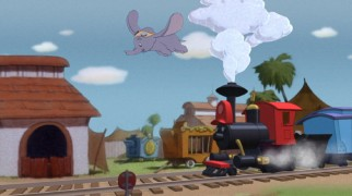 Dumbo flies ahead of Casey Jr. on the Blu-ray's menu screen.