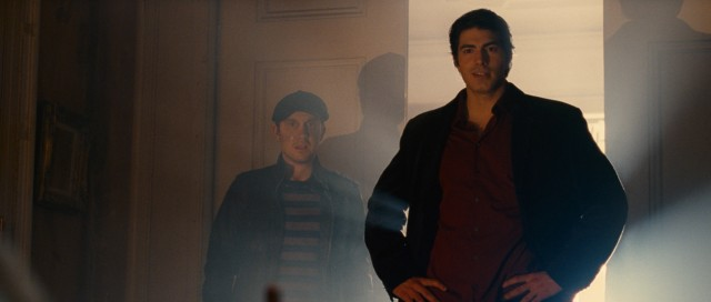 Paranormal private eye Dylan Dog (Brandon Routh) blocks vampire-threatening sunlight with his body while his undead assistant Marcus (Sam Huntington) looks on.