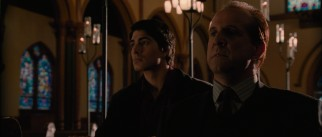 Dylan Dog (Brandon Routh) has a talk with distraught werewolf patriarch Gabriel (Peter Stormare).