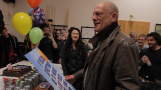 Christopher Lloyd gets a big birthday card from the cast and crew to celebrate his 75th.