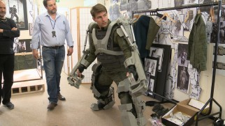 "Tom Cruise tests out an exosuit in ""Weapons of the Future."""