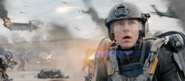 "Thrown into combat without training, Major William Cage (Tom Cruise) is quickly overwhelmed in ""Edge of Tomorrow."""