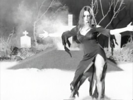 Vampira (Lisa Marie) dances to Howard Shore score in the untitled music video.