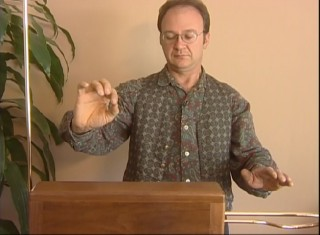 Mark Segal demonstrates how to play the theremin.