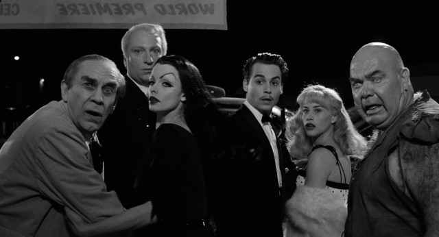 "Ed Wood (Johnny Depp), his date (Patricia Arquette), and his eccentric cast (Martin Landau, Jeffrey Jones, Lisa Marie, and George ""The Animal"" Steele) are chased out of the ""Bride of the Monster"" world premiere by a hostile audience."