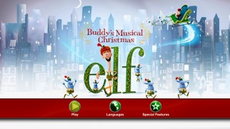 The DVD main menu of Elf: Buddy's Musical Christmas retools its cover art to fill the 16:9 screen.
