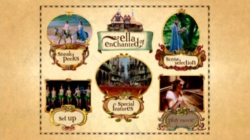 The Ella Enchanted DVD main menu is unchanged from its creation eight years ago.