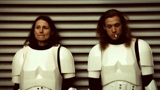 "(Authentic?) behind-the-scenes footage shows a couple of long-haired storm troopers enjoying a break from filming in ""Elstree 1976."""