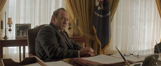 "On his break from playing a modern day President of the United States, Kevin Spacey portrays 37th President Richard Nixon in ""Elvis & Nixon."""