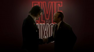 "Elvis & Nixon shake hands on the ""Elvis & Nixon."" Blu-ray menu."