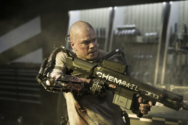 """Elysium"" stars Matt Damon as Max, a reformed criminal taking drastic action to get to the titular space station after radiation from a workplace accident numbers his days."