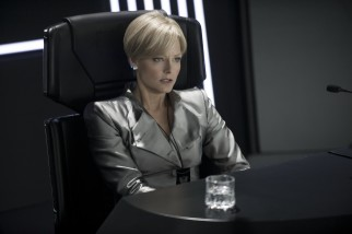 Elysium's Secretary of Defense Delacourt (Jodie Foster) takes whatever means necessary to protect her paradise space station from unauthorized visitors.