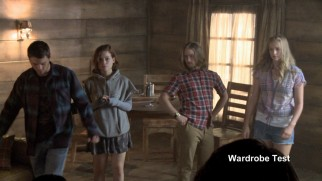"The cast tries out looks in this wardrobe test from ""'Evil Dead' the Reboot."""