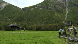 "In remote, scenic Norway, ""Ex Machina"" filmmakers shoot a helicopter's landing for the Jurassic Park-like opening."