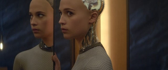 Though her body illustrates her nature, the artificially intelligent Ava (Alicia Vikander) displays a wide range of human emotion.