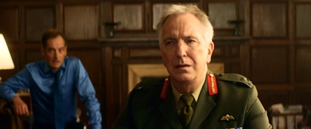 In his final live-action film role, Alan Rickman plays Lieutenant General Frank Benson, an official part of the kill chain debating authority to strike.