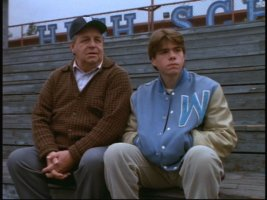 Coach Buck (Paul Dooley) and Jesse (Matthew Lawrence) have a nice heart-to-heart in the bleachers.