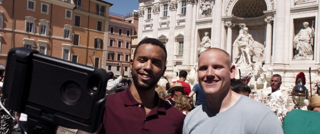 "Anthony Sadler and Spencer Stone make use of a selfie stick on their European trip together in ""The 15:17 to Paris."""