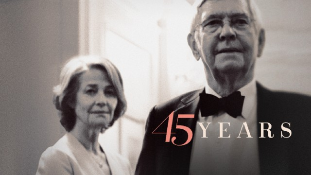 "The ""45 Years"" Blu-ray menu adapts black and white UK poster art."