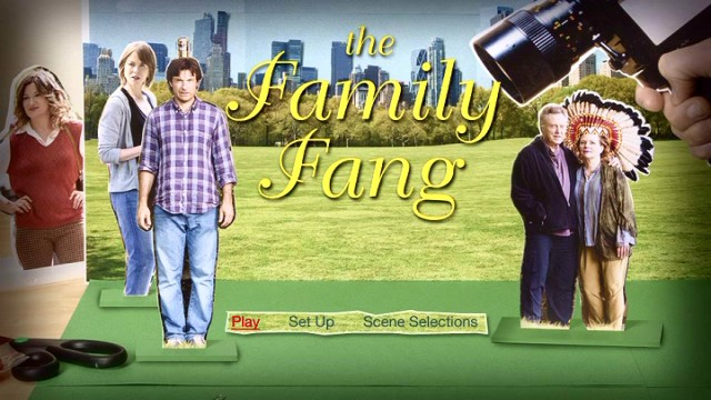 The Family Fang's DVD main menu simply adapts the film's very Wes Anderson-esque poster art.