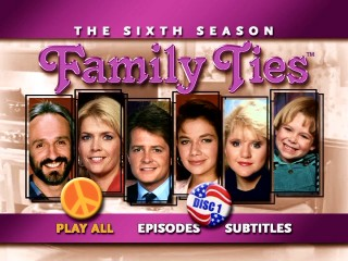 Each disc of Family Ties: The Sixth Season DVD uses these narrow portrait pics and peaceful, patriotic buttons for their main menu.