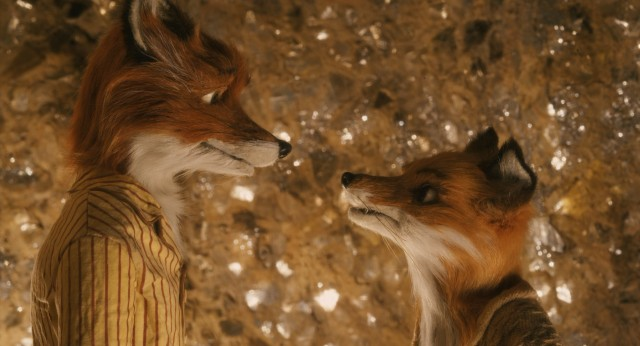 Mr. and Mrs. Fox step away from the kids for a tense but scenic conversation by a material deposit.