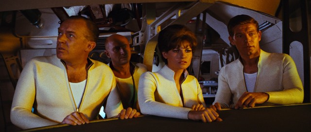 "In ""Fantastic Voyage"", Dr. Duval (Arthur Kennedy), Dr. Michaels (Donald Pleasence), Cora Peterson (Raquel Welch) and Agent Charles Grant (Stephen Boyd) are shrunk down and injected into a living human body."
