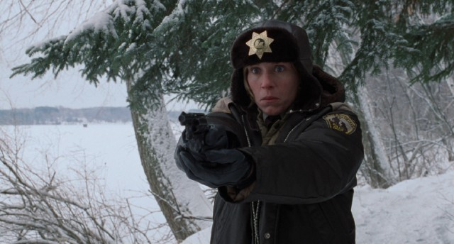 "Pregnant Brainerd police chief Marge Gunderson (Frances McDormand) happens upon an unsettling scene in the climax of ""Fargo."""