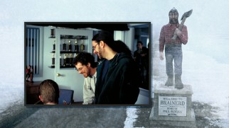 The Coen brothers have a laugh in Jerry Lundegaard's office while Paul Bunyan looks on in this photo gallery shot.