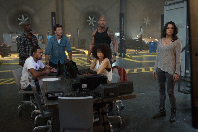 "Dom's actions upset and bewilder his Fast and Furious family (Tyrese Gibson, Chris ""Ludacris"" Bridges, Dwayne Johnson, Nathalie Emmanuel, and Michelle Rodriguez) and their new covert agent contact ""Little Nobody"" (Scott Eastwood)."