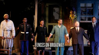 "A photograph shows the cast of the 2010 ""Fences"" Broadway revival (most of whom also appear in the film) taking their bows on stage."