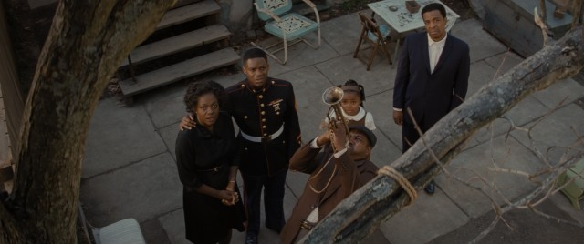 "Troy's brother Gabriel (Mykelti Williamson) blows his horn asking St. Peter to open his gates at the end of ""Fences."""