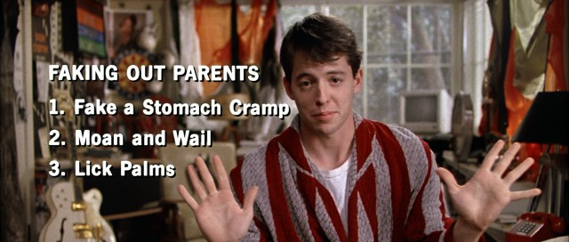 Ferris Bueller (Matthew Broderick) details the three important steps to faking out parents for a liberating sick day.