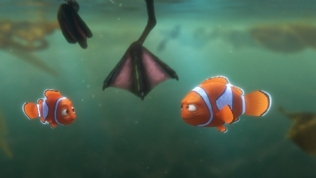 In their search for Dory, Nemo and Marlin encounter Becky, a mangy bird who requires an imprint to help them sneak into the aquarium's quarantine area.
