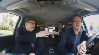 "Director Andrew Stanton drives voice cast members Albert Brooks, Ty Burrell, and Eugene Levy to the studio in ""Casual Carpool."""