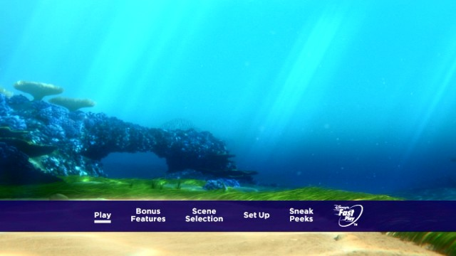 The Finding Dory DVD and Blu-ray menus opt for beautiful understatement.