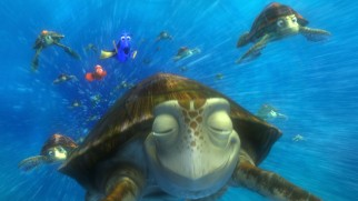 In one of the film's strongest sequences, Marlin and Dory find themselves riding the East Australian Current in a pack of gnarly sea turtles.