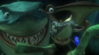 Though they've sworn off eating fish, these three sharks still pose a threat to Marlin and Dory.