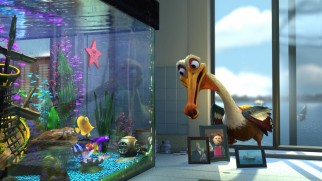 Nigel the pelican drops in for a chat with the fish tank gang.